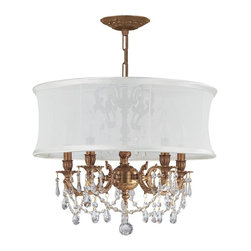 Crystorama - Brentwood 5-Light Chandelier in Aged Brass - The Brentwood Collection offers a nice mix of traditional lighting designs with large tailored encompassing shades. The Brentwood Collection offers a Smooth Antique White Silk shade that coordinates beautifully with the cast brass elements.