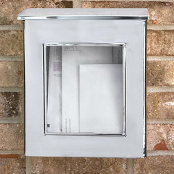 Vertical Wall-Mount Stainless Steel Mailbox with Viewing Panel - Add this stainless steel wall mount mailbox to your home and let the clear front glass panel make it easy to see if you have incoming mail. The hinged overlapping lid and stainless steel material make this an ideal mailbox to keep your mail protected from the elements.