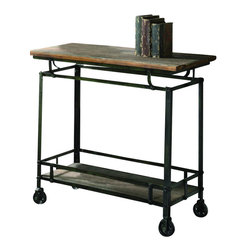 "Crestview - Crestview CVFZR456 Pressley Cart - Pressley Cart Pressley Cart 33""W x 17.75""D x 32""H;Metal&Wood Aged Wood and Metal  33""W x 17.75""D x 32""H"