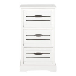 Safavieh - Venice Storage Unit - The stylish Venice 3 Drawer cabinet is the charming answer to all your organizational needs. Crafted of 100% pine wood in distressed cream finish, its three drawers and clean lines make it at home in the kitchen, home office or craft room.