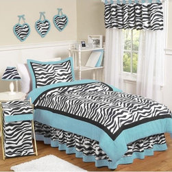 Sweet Jojo Designs - Zebra Turquoise Collection 3pc Full/Queen Bedding Set - Turquoise Funky Zebra Full/Queen Bedding set will help you create an incredible room for your child. This girl bedding set features a super contemporary zebra print fabric paired with vivid solids to create a graphic, modern look. This collection uses the stylish colors of turquoise, black and white. The design uses 100% cotton fabrics that are machine washable for easy care. This wonderful set will fit full and queen size beds. Features: -Includes lightweight full / queen comforter and 2 standard shams. -Turquoise Funky Zebra collection. -Made of 100% cotton. -Stylish color palette of white with zebra print trim and turquoise piping. -Wonderful set will fit full and queen size beds. -Machine washable and dryable.
