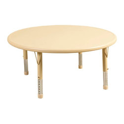 "Ecr4kids - Ecr4Kids Preschool Playroom 45"" Round Resin Table Sand - Tabletop made of fade-resistant Polyethylene that will not crack, chip or peel. Features reinforced steel frame. Easy to clean and sanitize. Legs adjust in 1"" increments from 13.25"" to 22.25""."