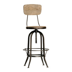 Ford Bar Stool with Back, Stainless Steel - This industrial-style Ford bar stool with a back creates a pub-like atmosphere in the home. Ideal for an urban loft or basement bar, this stool has a steel frame with a round footrest that encircles the base. The seat and back are crafted from reclaimed wood that adds to the industrial look of this stool. With adjustable height and a modern mixed materials aesthetic, this stool is a remarkable choice.