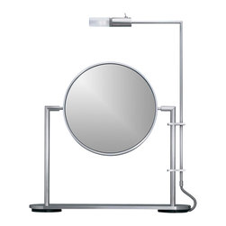 WS Bath Collections - TS1 Freestanding Magnifying Mirror w Light (5 - Choose Magnification: 5xMakeup Magnifying Mirror with Light. Massive Solid Stainless Steel. Hand Brushed. Made to Highest Industry Standards. Made in Germany. Product Material: Brushed Stainless Steel. Finish/Color: Silver. Dimensions: 10.6 in. Diameter