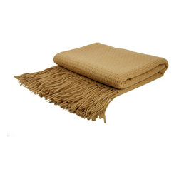 "Pur by Pur Cashmere - Signature Blend Throw Camel 50""x65"" With 6"" Fringe - Basketweave cashmere blend throw. 50% cashmere. 50% fine wool Dry clean only. Inner mongolia."