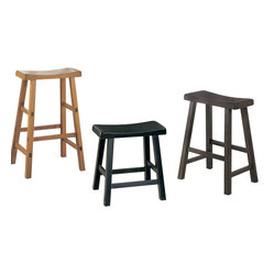 Homelegance - Homelegance Saddleback 18 Inch Stool - Oak [Set of 2] - 18 Inch Stool is a part of 10009 Collection by 9 A space apart from the hustle and bustle of today's hectic lives, this gathering height table with four saddle back stools are designed for you to enjoy a good meal with or without your friends and families. Available in three finishes: black sand-through finish, warm cherry finish, and oak finish.  18 Inch Stool (1)
