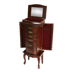 Upton Home - Mahogany Medium Jewelry Armoire - Store your jewelry in a fashionable way with this beautiful mahogany jewelry armoire. The armoire will give you the ability to keep your necklaces from becoming tangled and ensure that you always know where your best pieces of jewelry are at all times.