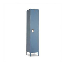 """Penco - Vanguard Single Tier 1 Wide Locker (Unassembled) - The Vanguard series is built to last. the Vanguard series is sure to meet your individual needs. Whether you are looking for lockers for school or some place else, Vanguard lockers make an excellent choice. Features: - Dimensions are per locker .- 1 wide .- Baked enamel finish, with body parts finished same color as the doors .- Recessed handle .- Louvers for ventilation .- Every door has a continuous door strike .- All hinges are full loop, 5 - knuckle design .- Each locker is supplied with a polished aluminum number plate, 2-1/4"""" W x 1"""" H, with black numerals .- Locker handle hole for locks is 9/32"""" in diameter .- Numbers on plates will begin with #1 and move up sequentially, unless otherwise specified. Product Specifications Specifications - Shipped knocked down .- 16 Gauge Doors .- 24 Gauge Bodies Storage Features .- 60"""" and 72"""" high single tier lockers have a shelf for storage of books and small articles .- Lockers 18"""" deep or more come with a coat rod in addition to coat hooks . Additional Information Assembly Instructions Single Tier -- the most popular and widely used locker offers maximum space for full hanging of clothing and other belongings. Notes: - Quick Ship: Usually ships within 24 to 72 hours .- Height refers to height of tier; does not include height of 6"""" legs .-Sloping tops, splices .-Front and end bases for lockers with legs sold separately .-Locker ends will be painted the specified color. For a professional appearance, call us for information on ordering finished side panels .-For safety purposes, it is strongly recommended that all lockers be anchored to a wall or floor. Installation Services Now Available! Call for details."""