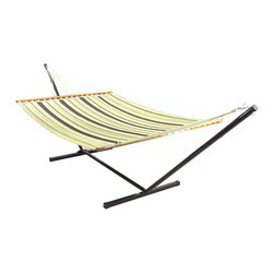 Outdoor Classics - Outdoor Classics Brown/Tan Double Fabric Hammock w/ Spreader Bar - Hammock dimensions: 13ft long, 55in wide, 5lbs