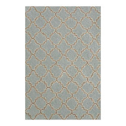Hooked Plain Tin Slate Wool Micro Contemporary Rug - If you enjoy subtle and sophisticated neutrals, meet your match! This gorgeous rug is the ideal transitional rug if you feel like your style is partially traditional and partially modern. I would also like to add that the blue is the loveliest, most soothing shade of blue I've seen in a rug.