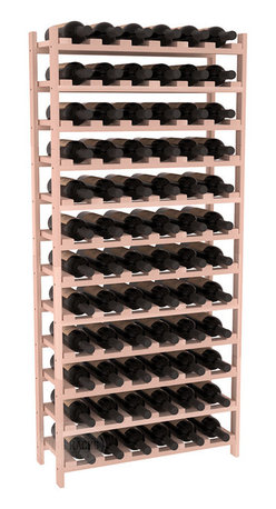 72 Bottle Stackable Wine Rack in Redwood with White Wash Stain - Four kits of wine racks for sale prices less than three of our 18 bottle Stackables! This rack gives you the ability to store 6 full cases of wine in one spot. Strong wooden dowels allow you to add more units as you need them. These DIY wine racks are perfect for young collections and expert connoisseurs.