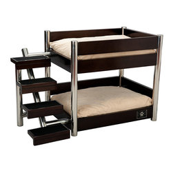 "Frontgate - Black Metropolitan Double Pet Bed Dog Bed - Keeps single or multiple pets active and entertained. Steps have textured ""scratching"" surfaces. 2 sets of machine washable cushions. Sturdy design. Stainless steel accents. If you have multiple pets, our Black Metropolitan Double Pet Bed is the perfect resting place. This innovative, solid wood bunk-style pet bed has sleek, modern lines that complement any contemporary decor. . . . . . High-gloss finish. Non-slip rubber feet prevent scuffing. Each level accommodates dogs up to 30 lbs.. Easy to assemble."