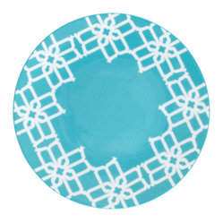B by Brandie - Turquoise Truman Appetizer & Dessert Plate - Inspired by Truman Capote's legendary joie de vivre with the toast of the town, this bold appetizer/dessert plate helps set the stage--and the table--for a sophisticated statement.