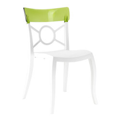PAPATYA - PAPATYA OPERA S CHAIR, Set of 2, White Seat W/ Transparent Green - Stackable chair with base in glassfibre reinforced polypropylene and the back in polycarbonate. This traditional chair turns into a contemporary looking chair with combination of the two material and with its fashionable colours make it easily adaptable to every dynamic design environments. Anti UV stabilized. Suitable for indoor and outdoor use. Priced as Set of 2.