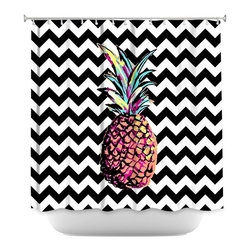 DiaNoche Designs - Shower Curtain Artistic - Party Pineapple Chevron - DiaNoche Designs works with artists from around the world to bring unique, artistic products to decorate all aspects of your home.  Our designer Shower Curtains will be the talk of every guest to visit your bathroom!  Our Shower Curtains have Sewn reinforced holes for curtain rings, Shower Curtain Rings Not Included.  Dye Sublimation printing adheres the ink to the material for long life and durability. Machine Wash upon arrival for maximum softness. Made in USA.  Shower Curtain Rings Not Included.