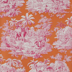 Bengale Wallpaper, Paprika - Bengale Toile is another favorite from Manuel Canovas. For a bold look, paper the walls and use the coordinating fabric on the upholstery.