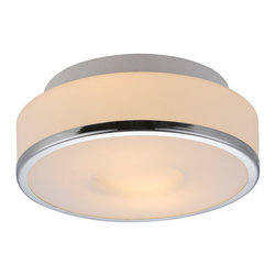 "IFN Modern - Speculant Drum Pendant - This contemporary pendant light can have 2 60W incandescent bulbs (sold separately) enclosed inside its 9.84"" wide glass shade which leads to emission of soft diffused light. The shade is edged with metal rim which features a chrome finish.â— Metal & Glassâ— Comes in Whiteâ— Incandescent 60 Watt Bulb (Not Included)â— 4lbsâ— 110 Voltsâ— 50"" Cordâ— Shade Diameter - 10"""