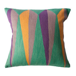 Leah Singh - Zimbabwe Root Summer Pillow - Inspired by the shapes and colors of different flags, these colorful geometric pillows are hand-embroidered by women artisans in north India.