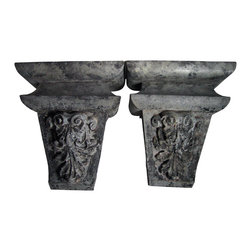Pair of Zinc Wall Brackets - Architectural building elements of Zinc have been made into grand wall brackets.  The zinc grey color with the traces of black paint, make a dramatic accents for contemporary or classic environments.