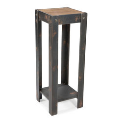 Moe's Home Collection - Bolt Plant Stand Natural - Industrial style plant/statue stand.