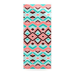 """Kess InHouse - Pom Graphic Design """"Eclectic"""" Peach Teal Metal Luxe Panel (9"""" x 21"""") - Our luxe KESS InHouse art panels are the perfect addition to your super fab living room, dining room, bedroom or bathroom. Heck, we have customers that have them in their sunrooms. These items are the art equivalent to flat screens. They offer a bright splash of color in a sleek and elegant way. They are available in square and rectangle sizes. Comes with a shadow mount for an even sleeker finish. By infusing the dyes of the artwork directly onto specially coated metal panels, the artwork is extremely durable and will showcase the exceptional detail. Use them together to make large art installations or showcase them individually. Our KESS InHouse Art Panels will jump off your walls. We can't wait to see what our interior design savvy clients will come up with next."""