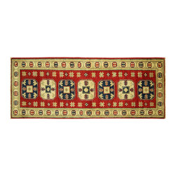 Manhattan Rugs - New Hand Knotted Wool Red Veg Dyed Super Kazak 2x6 Easy Tribal Design Rug H5881 - Kazak (Kazakh, Kasak, Gazakh, Qazax). The most used spelling today is Qazax but rug people use Kazak so I generally do as well.The areas known as Kazakstan, Chechenya and Shirvan respectively are situated north of  Iran and Afghanistan and to the east of the Caspian sea and are all new Soviet republics.   These rugs are woven by settled Armenians as well as nomadic Kurds, Georgians, Azerbaijanis and Lurs.  Many of the people of Turkoman origin fled to Pakistan when the Russians invaded Afghanistan and most of the rugs are woven close to Peshawar on the Afghan-Pakistan border.There are many design influences and consequently a large variety of motifs of various medallions, diamonds, latch-hooked zig-zags and other geometric shapes.  However, it is the wonderful colours used with rich reds, blues, yellows and greens which make them stand out from other rugs.  The ability of the Caucasian weaver to use dramatic colours and patterns is unequalled in the rug weaving world.  Very hard-wearing rugs as well as being very collectable
