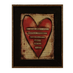 "MyBarnwoodFrames - Thankful People Are Happy Art Print in Black Reclaimed Wood Frame, 17x21 - This colorful art print by artist Lisa Larson reads, ""It is not happy people who are thankful, it is thankful people who are happy."" A red heart is superimposed over a background of heavily distressed sheet music, with silhouettes of dandelion fluff highlighting the design. Framed in a black wash reclaimed wood frame with a natural wood raised border, this primitive print is the perfect addition to your country or primitive decor."