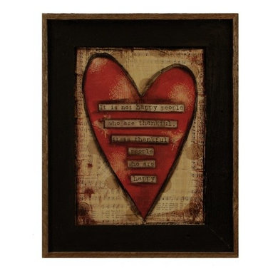 """MyBarnwoodFrames - Thankful People Are Happy Art Print in Black Reclaimed Wood Frame, 17x21 - This colorful art print by artist Lisa Larson reads, """"It is not happy people who are thankful, it is thankful people who are happy."""" A red heart is superimposed over a background of heavily distressed sheet music, with silhouettes of dandelion fluff highlighting the design. Framed in a black wash reclaimed wood frame with a natural wood raised border, this primitive print is the perfect addition to your country or primitive decor."""