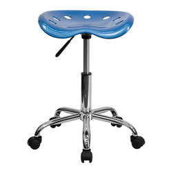 Flash Furniture - Flash Furniture Vibrant Tractor Seat and Chrome Stool in Bright Blue - Flash Furniture - Drafting Chairs - LF214ABRIGHTBLUEGG - on the market for a stool but want to add a little color to your home or office? This sleek modern stool conforms to several areas in the home or office. The molded tractor seat offers great comfort. The small frame design of this backless stool makes it easy to maneuver around tight spaces with ease. This stool can be used for a variety of reasons other than just at a desk and is offered at a very affordable price. [LF-214A-BRIGHTBLUE-GG]
