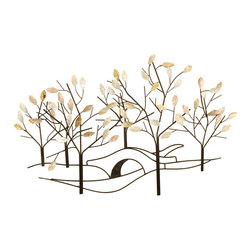 Welcome Home Accents - Tree lined street wall decor - Reminiscent  of a walk in the park this ebony metal wall art depicts a tree lined street with tan & varying shades of  cream capiz shell leaves on the tree. It adds beauty, movement and interest to your space and allows your wall color to show thru. Hooks on back for easy hanging.