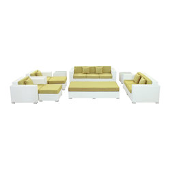 Eclipse Outdoor Wicker Patio 9 Piece Sofa Set in White with Light Blue Cushions