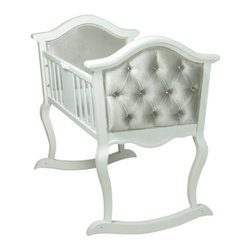 Orbelle - Lola Upholstered Cradle, French White, with Silver Grey Velvet Upholstory - This heirloom quality cradle welcomes your little one with timeless design. Rich upholstery in plush Silver grey velvet, with crystal button tufting together with its gracefully carved wood curves, gives you this luxurious cradle, to be enjoyed as a family heirloom, for many years to come.