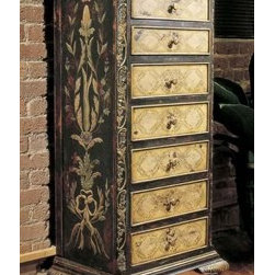 """Habersham - Habersham Oxfordshire Seven-Drawer Chest - It all started in the small North Georgia town of Clarkesville. It was 1969 and Habersham founder Joyce Eddy had just been given the chance to operate a small antique shop located above an old laundromat. This was just the opportunity a woman of Joyce's vision and energy would turn into the perfect blend of utility artistry and soul. Looking for ways to make her antique business more profitable she began crafting small decorative purses from vintage wooden cigar boxes. They were totally unique and they were an instant hit. Joyce named her new venture Habersham Plantation after Georgia's Habersham County and the plantations for which the area was known. The ideas just kept coming. One day Joyce was driving by a local textile company and spotted a large pile of old discarded wooden spools. Those spools were soon crafted into candleholders towel racks and folk art items. With the help of her sons and other family members Joyce expanded Habersham's offerings to include handcrafted furniture reflecting the American Country designs of the early 17th and 18th centuries. As word spread and production demands grew Joyce enlisted the help of woodworkers from her North Georgia region. This area had been a center for cabinetmaking since the early 1800s and the master craftsmen were well-schooled in the time-tested woodworking and joinery techniques that matched Joyce's sense of style and function. She even designed her factory to work just as the 18th century cabinetmakers did with individual artisans hand-finishing signing and dating each piece of furniture they crafted. Today Habersham still leads the way in the fine art of furniture design. So much so that in addition to their product line a new """"whole home"""" concept is finding its way into some of the finest dwellings in the country. Custom kitchen bath and other cabinetry designs offer rich opulent finishes and blend seamlessly with rooms of casual elegance all enhancin"""
