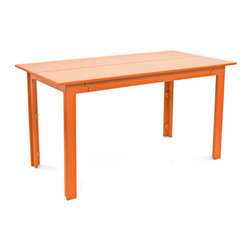Loll Designs - Fresh Air Table 58, Sunset Orange - Fresh air is as important as healthy food and good friends and when all three coalesce there is something special that occurs. We named our Fresh Air Collection after just that. The clean lines and unique joinery make this a perfect table and bench for modern outdoor spaces. The bench has angled seat slats for a comfortable sit that won't allow water to pool on top. Made with half inch thick recycled plastic, both the table and bench are easy to move around and heavy enough to stay put in a gusty wind. The Fresh Air table and bench are sized perfectly for four even when two is really all you need.