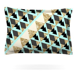 """Kess InHouse - Nika Martinez """"Glitter Triangles in Gold & Teal"""" Blue Brown Pillow Sham (Woven, - Pairing your already chic duvet cover with playful pillow shams is the perfect way to tie your bedroom together. There are endless possibilities to feed your artistic palette with these imaginative pillow shams. It will looks so elegant you won't want ruin the masterpiece you have created when you go to bed. Not only are these pillow shams nice to look at they are also made from a high quality cotton blend. They are so soft that they will elevate your sleep up to level that is beyond Cloud 9. We always print our goods with the highest quality printing process in order to maintain the integrity of the art that you are adeptly displaying. This means that you won't have to worry about your art fading or your sham loosing it's freshness."""