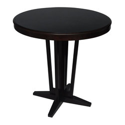 Carolina Accents - Maddox Contemporary Round Bistro Table w Pedestal Base - Available in additional finish. Assembly required. 36 in. L x 36 in. W x 42 in. HOur Maddox Tables are designed in a transitional style to blend perfectly with either a contemporary or traditional home. Combine them with our Thoroughbred Stools, Maxwell Chairs, Montgomery Chairs, or Cameron Chairs for a dining area that is comfortable and relaxed.