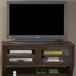 Liberty Furniture - Liberty Furniture Madison Media Console in Coffee Bean Finish - Function and style in one package.  Madison tables feature magazine storage underneath the cocktail and end table.  The nesting chairsides create dual function without taking up space.  Sofa Console is a TV console with sliding doors that house adjustable interior shelves for components.  The console also features the angle shelf for remove storage or magazine storage.Collection Features: Magazine StorageSliding DoorsOne Adjustable Shelf Behind Each DoorWire Management ProvisionsFunctional Nesting Tables