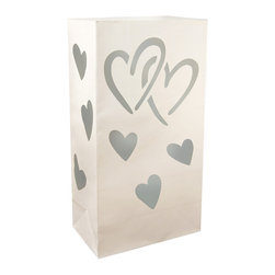 LumaBase Luminarias - Flame Resistant Luminaria Bags- 12 Count Hearts - Welcome guests with decorative traditional walkway luminarias. Brighten your walkway, entryway, sidewalk or patio for a special occasion. Just add a LumaBase water filled candle holder or sand and a candle. They add a decorative flair while lighting the way for guests. Included: 12 Flame Resistant Paper Bags