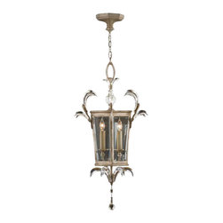Fine Art Lamps - Beveled Arcs Lantern, 705440ST - Arced beveled crystals like stylized leaves add a unique decorative touch to this antique-style candelabra lantern, giving it an eclectic style edge. Try hanging it somewhere unexpected, such as over a desk or breakfast nook.