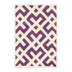 Safavieh - Nadine Hand Tufted Rug, Purple / Ivory 2' X 3' - Construction Method: Hand Tufted. Country of Origin: India. Care Instructions: Vacuum Regularly To Prevent Dust And Crumbs From Settling Into The Roots Of The Fibers. Avoid Direct And Continuous Exposure To Sunlight. Use Rug Protectors Under The Legs Of Heavy Furniture To Avoid Flattening Piles. Do Not Pull Loose Ends; Clip Them With Scissors To Remove. Turn Carpet Occasionally To Equalize Wear. Remove Spills Immediately. A timeless quatrefoil motif makes a global design statement in the subtle but sophisticated Desai area rug. These stunning hand-tufted wool rugs are crafted in India to recreate the elegant look of hand-knotted carpets for today's lifestyle interiors.