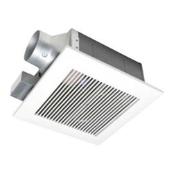 Panasonic - 80-CFM Low Profile Exhaust Fan - FV-08VF2 - Designed for buildings with slim ceiling cavities, this 80 CFM ceiling fan has a housing depth of a mere 5-5/8 inches. It is whisper quiet with a 1.0 sone level thanks to a tapered fan, specially-designed blades, and a dual chamber structure. The mounting opening measures 10-3/8 by 10-3/8 inches, while the decorative grill measures 13 square. The duct has a 4-inch diameter with an adapter allowing the use of 3-inch ducting. The motor is completely enclosed, and a built-in damper prevents backdraft. This fan meets the Washington State Ventilation and Indoor Air Quality Code. Air movement is reduced to 70 CFM when using 3 ducting.