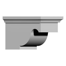 """Ekena Millwork - 5 5/8""""W x 9 3/8""""D x 5 3/4""""H Dublin Bracket - 5 5/8""""W x 9 3/8""""D x 5 3/4""""H Dublin Bracket. These brackets are truly unique in design and function. Primarily used in decorative applications urethane brackets can make a dramatic difference in kitchens, bathrooms, entryways, fireplace surrounds, and more. This material is also perfect for exterior applications. It will not rot or crack, and is impervious to insect manifestations. It comes to you factory primed and ready for your paint, faux finish, gel stain, marbleizing and more. With these corbels, you are only limited by your imagination."""
