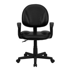 Flash Furniture - Mid-Back Black Leather Ergonomic Task Chair with Arms - This black leather task chair is the perfect companion to any home, school, or office computer area. Featuring a soft leather seat and back, sturdy nylon loop arms, and pneumatic height adjustment. This entry level computer chair is sure to suit most applicable needs. You can be sure that you have made an invaluable purchase.