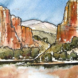 Arkansas River Gorge - Original Watercolor Painting - Another watercolor in a series I have started called Canyonlands.  Throughout my life I have been inspired by the magnificent landscape of the west, especially those special places where the rock soars.