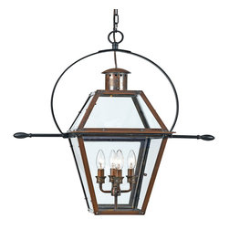 Quoizel - Quoizel RO1914AC Rue De Royal Traditional Outdoor Hanging Lights - From the Charleston Copper Lantern Collection, this piece gives you the historic look of gas lighting, but without the hassle of a propane feed. It is all electric, solid copper and hand riveted, giving your home the romantic, reproduction style of antique gas lights still popular today on many of the charming homes in New Orleans and Charleston.