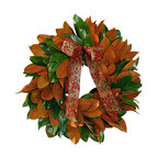 Creekside Farms - Magnolia Wreath with Ribbon - Celebrate the beauty of autumn with a gorgeous, artisan-made wreath. You'll love the warmth and color of this lush magnolia arrangement. Remember, it's fresh — so be sure to protect it from the elements.