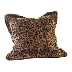 """Posh Pelts - Leopard Faux Fur Pillow Cover with Camel-Faux Suede Back - When the Leopard faux fur pillow is tossed on your couch, loveseat or bed, the Leopard's beautiful coat is recognizable from across the room. Cinnamon fibers are tip dyed fawn. Brunette leopard spots are stylishly placed so that the pattern is subtle and eye-pleasing. Fibers are approximately 1/2"""" (1.5 cm) and are tightly woven to create a thick soft fabric. The pillow cover has a 2 faux fur flange around all edges, is backed by camel-colored faux suede and conceals a zipper on the back side. It nicely accents subtlety patterned decor of brown / neutral / cordovan tones. PoshPelts faux fur throw blanket that complements the Leopard pillow cover: Leopard. Other pillow covers that look nice with the Leopard are: Arctic Fox. Features: -Pillow cover. -Content: faux fur 80-85% acrylic, 15-20% polyester: faux suede 100% polyester. -Add dimension and interest with matching or coordinating throws and pillow covers. -Faux fur front. -Camel color faux suede back. -Concealed zipper. -Fits standard 16"""" x 16"""" insert: Has 2"""" faux fur flange around all edges. -Fibers approximately 1/2"""" in length. -Superior quality and craftsmanship. -Machine wash cold; no heat dry; dry cleaning recommended.-20"""" H x 20"""" W, 0.2 lb."""