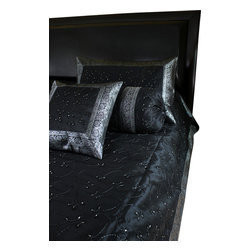 Banarsi Designs - Hand Embroidered 7-Piece Duvet Cover Set, Mystic Black, King - Decorative duvet cover set features an elegant and bold hand embroidered design.
