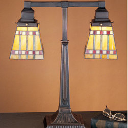 Meyda Tiffany - Meyda Tiffany 24286 Craftsman / Mission Table Lamp Prairie Corn Collect - Prairie Corn Mission 2 Light Table LampFeatures Mission Style Tiffany Stained Glass Shades2 60w max medium base bulbs (Not Included)