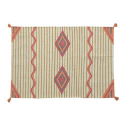 100% Wool Area Rug, 3'X5' Hand Woven Flat Weave Reversible Southwest Rug SH11499 - Soumaks & Kilims are prominent Flat Woven Rugs.  Flat Woven Rugs are made by weaving wool onto a foundation of cotton warps on the loom.  The unique trait about these thin rugs is that they're reversible.  Pillows and Blankets can be made from Soumas & Kilims.
